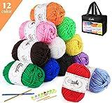 ilauke 12 x 50g Balls of Assorted Double Knitting Yarn, Colored Acrylic Yarn Set with 2 Crochet Hooks, 2...