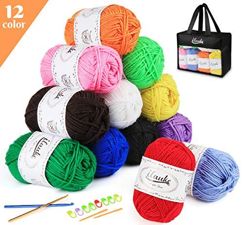 ilauke Häkelgarn 12 Farben * 50g Handstrickgarn Baumwollgarn Acryl Wolle Set für Häkeln und Kunsthandwerk, 12 Farben