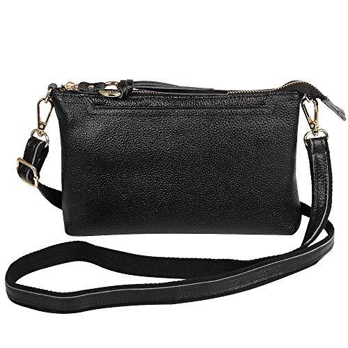Damen Leder kleine Umhängetasche, Handtasche, Schultertasche für iPhone Xs Max XR 8 Plus, Galaxy S10+ S9 Note9 A10 S10e, LG Stylo 4, Google Pixel 3a, Oneplus 7/6, Small, schwarz
