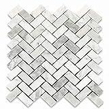 Stone Center Online Carrara White Marble 1x2 Herringbone Mosaic Tile Polished for Kitchen Backsplash Bathroom Flooring Shower Surround Dining Room Entryway Corrido Spa (1 Sheet)