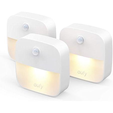 eufy by Anker [Pack de 3]Lumi Veilleuse-Lampe Murale autocollante avec LED de Couleur Chaude,détecteur de Mouvement,capteur de lumière,efficacité énergétique pour Chambre,Salle de Bain,Cuisine,etc.