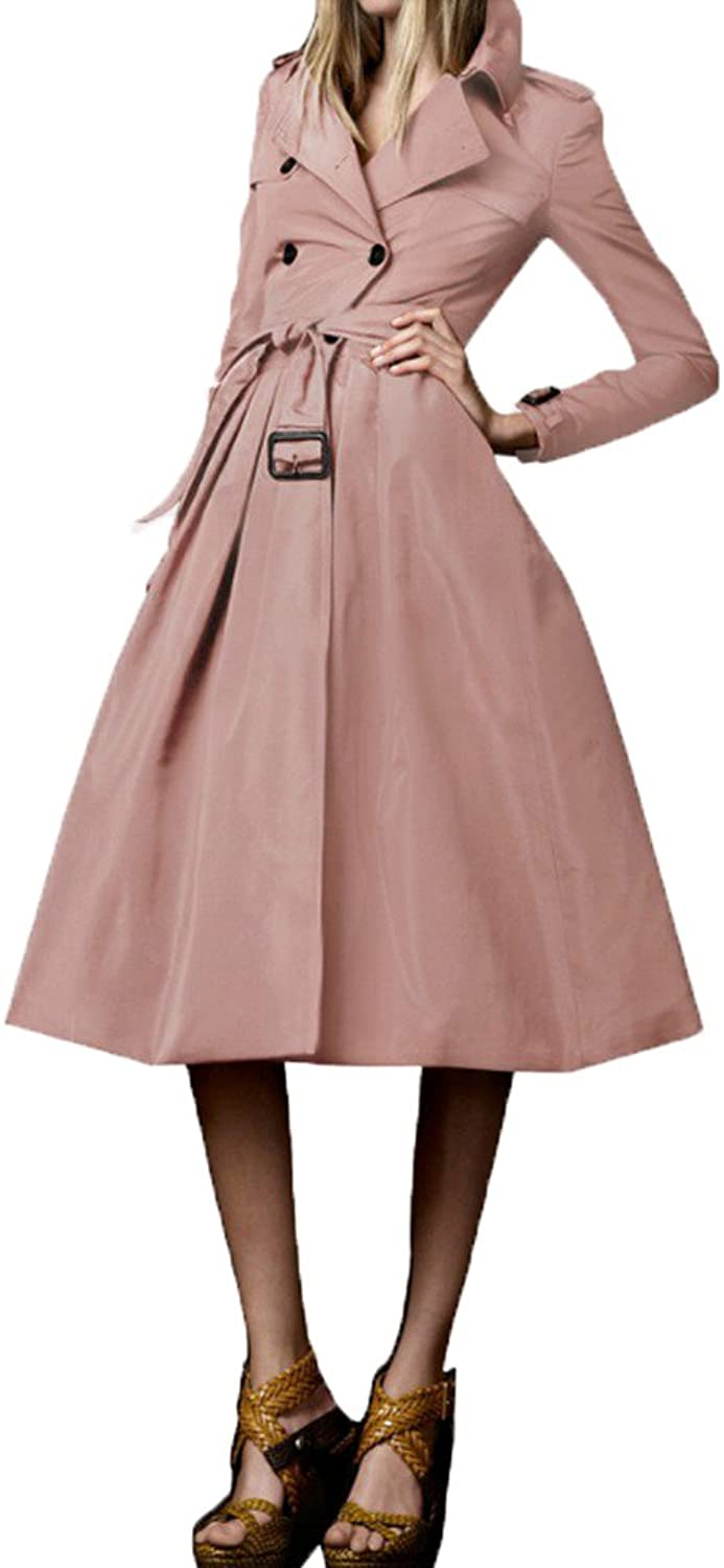 Angel&Lily Retro Belted Skirted DoubleBreasted Trench Coat 1x10x