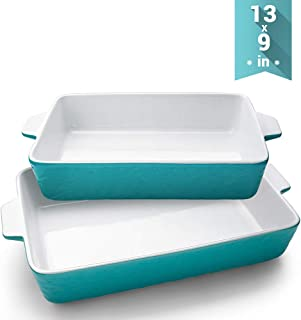 Ceramic Baking Dishes, Krokori Rectangular Bakeware Set Baking Pan Lasagna Pans for Cooking, Kitchen, Cake Dinner, Banquet and Daily Use - 13 x 9 Inches Pack of 2PCS