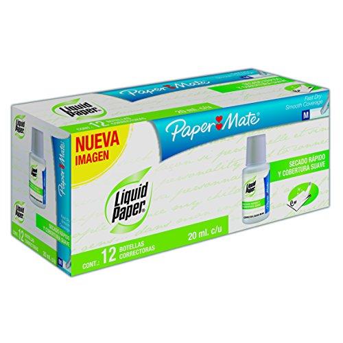 Paper Mate LAS1317553 Liquid Paper Corrector en Botella con Aplicador Tipo Brocha, Secado Rápido, 20ml