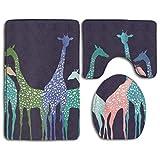 GGdjst 3 Piezas Juego de Alfombra de Baño Set Non Slip Water Absorbent Bathroom Carpet U-Shaped Contour Rug + Lid Toilet Cover + Bath Rug Colored Giraffe