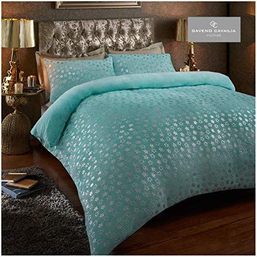 Easy Care Teddy Star Foil Fleece Duvet Cover Set with Pillowcases, Soft & Warm Quilt Set, Double, Aqua