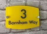 Domus House Signs Placa de acrílico Personalizable para casa con número de casa y Nombre de Calle, Efecto de Cristal Moderno para Puerta