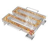 Bestcool Ahumador de pellets de acero inoxidable, bandeja perforada para ahumado de barbacoa, perfecto para ahumado de carne, pescado y queso en frío y caliente, 22 × 17 cm
