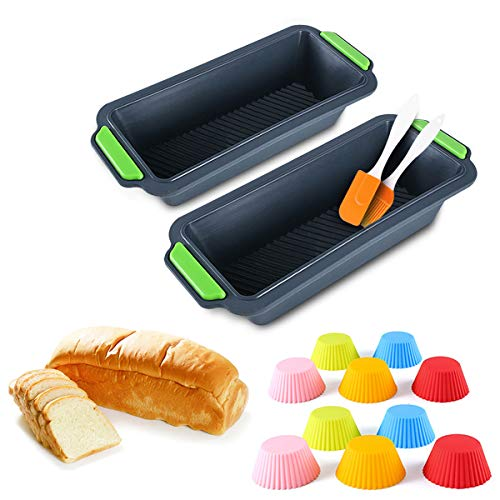 Brotbackform aus Silikon, 2 Stück, antihaftbeschichtet, lebensmittelecht, mit 1 Spatel und 1 Bürste und 10 Silikon-Cupcakes, BPA-frei, ofen-mikrowellen- und spülmaschinenfest (dunkelgrau)