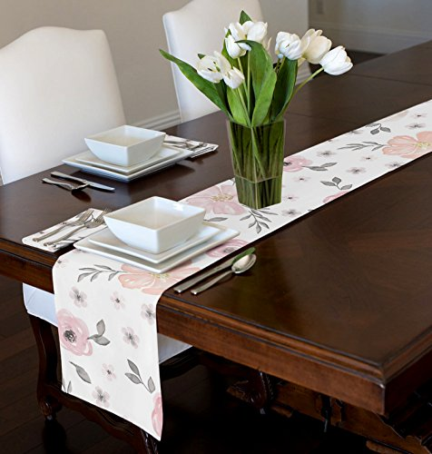 A LuxeHome Blush Rosa, Grigio e Bianco Shabby Chic Watercolor Rose Floral Runner Mat Topper 30,5x 228,6cm