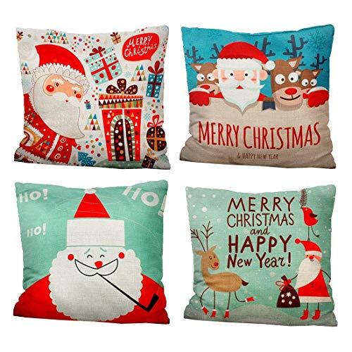 iMucci Federa di Natale- Cuscini Natalizi Decorativo Cotone Biancheria Cuscino copricuscini Divano Caso Federa per Cuscino