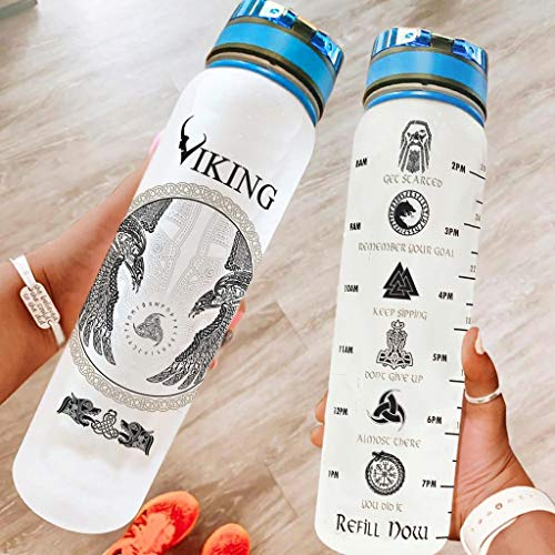 Botella de agua vikinga de marca genérica, 907 ml, con marcador sin BPA, ecológica, Tritan Co-poliéster, plástico para entrenamiento de fitness, al aire libre, color blanco 1000 ml