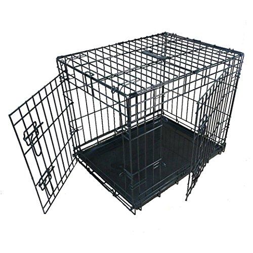 Ellie-Bo - Jaula Plegable de 2 Puertas con Bandeja de Metal no masticable, pequeño, 60,8 cm, Color Negro