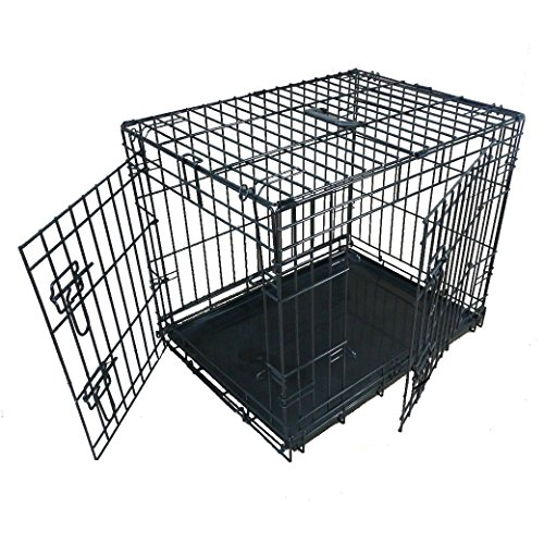 Ellie-Bo Dog Puppy Cage Small 24 inch Black Folding 2 Door Crate with Non-Chew Metal Tray