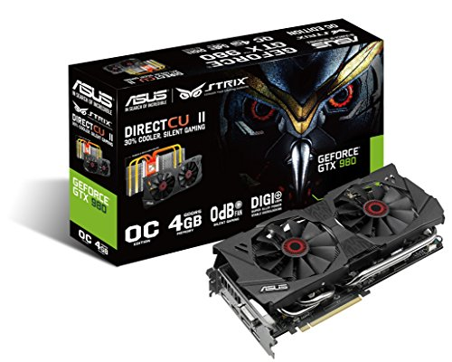 Asus STRIX-GTX980-DC2OC-4GD5 Nvidia GeForce Gaming Grafikkarte (PCIe 3.0 x16, 4GB DDR5 Speicher, HDMI, DVI, 3x DisplayPort)