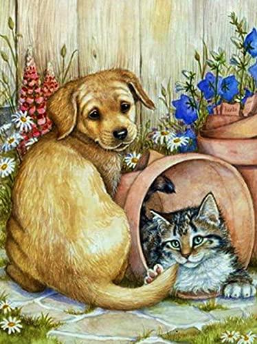 5D hecho a mano pintura de diamantes Kit de artesanía de perro bordado de diamantes Animal pintura de diamantes mosaico gato Kit de diamantes de imitación A8 50x70cm