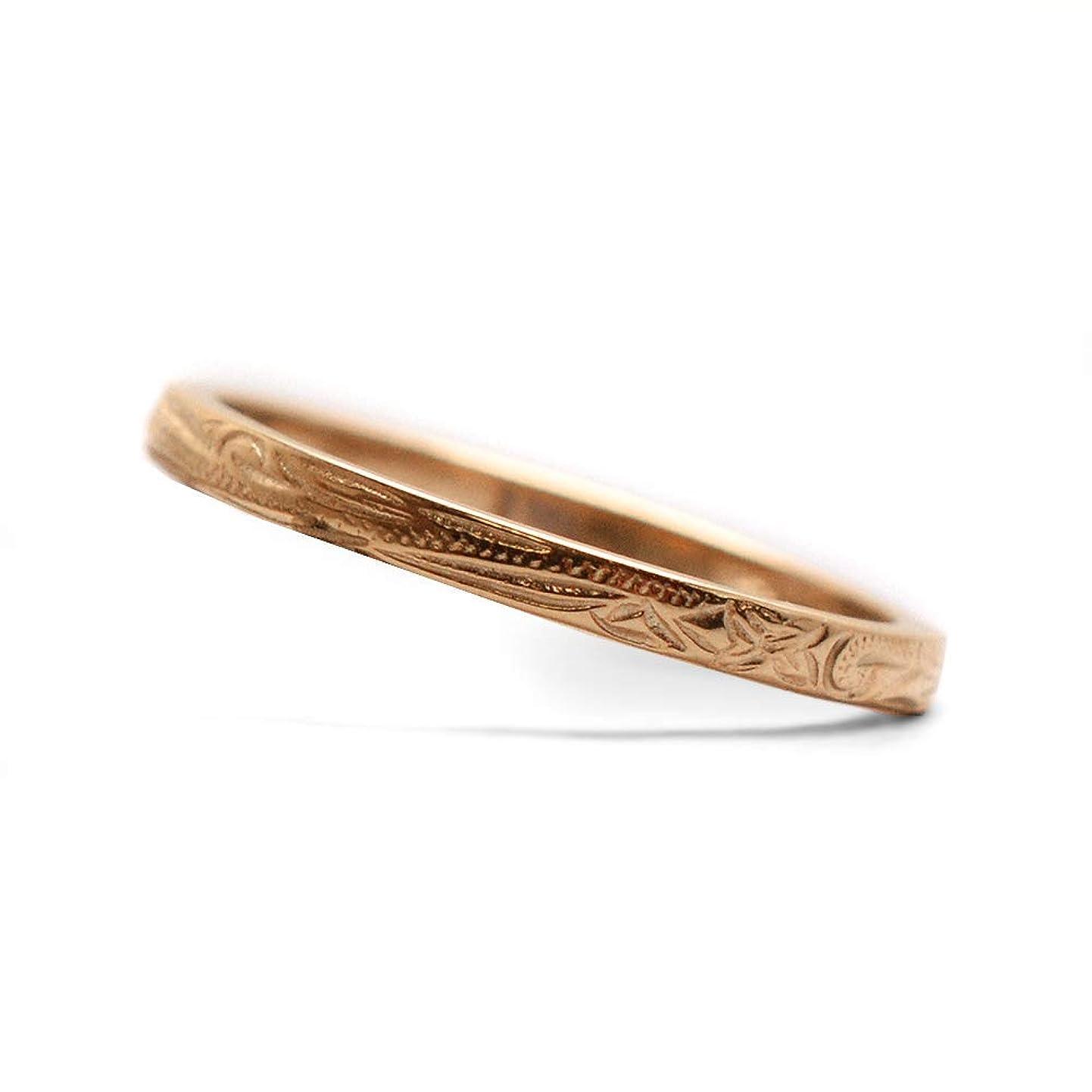 ハード臭いポンドサーペンス リング サージカルステンレスリング 指輪 レディース メンズ ハワイアン 細身 (ピンクゴールド, 21号)