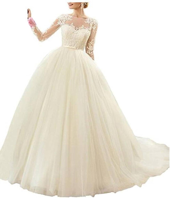 ANGELA Women's Appliques Long Sleeves Long Tulle Wedding Dresses