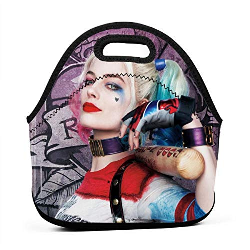 Insulated Zipper Neoprene Harley Quinn LunchBoxes Portable Bento Cooler LunchBoxes Reusable For Women Men Kids Nurse Teacher Travel School Office