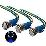 QitinDasen 3Pcs Premium 12V / 24V 5A Interruptor de Botón Momentáneo, 16mm Interruptor de Botón Metálico, LED Azul Interruptor Pulsador Impermeable IP67 con Enchufe de Cable