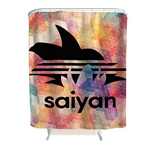 Born for-Anime Duschvorhang Retro Saiyan Muster Gedruckt Antibakteriell - Black Badewannenvorhang Blumen für Zuhause White 120x200cm