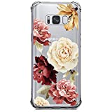 Galaxy S8 Plus Case, Crystal Clear Case with Design Rose Flowers Pattern Print Bumper Protective Shockproof Case for Samsung Galaxy S8 Plus 6.2 Inch Flexible Soft Gel TPU Floral Cover for Girls Women
