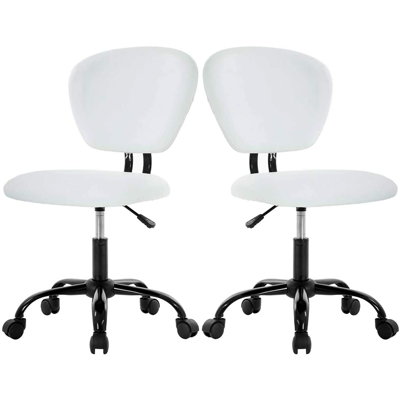 Set of 2 Modern Style Desk Task Chair Durable PU Leather Upholstery Seats Mid-Back Armless Design Height Adjustable 360-Degree Swivel Solid Metal Base Home Office Dining Room Furniture - White #2272