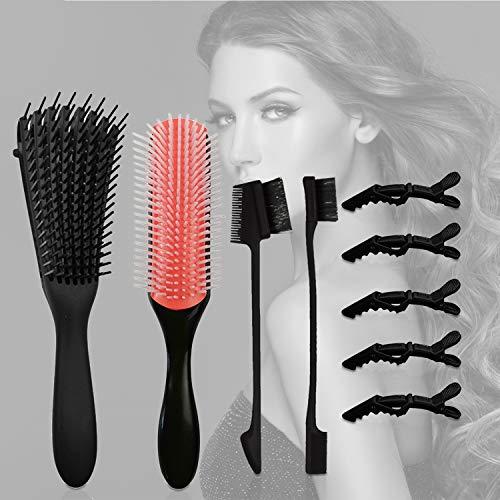 Xnuoyo 9 Pcs Districante per Capelli Pettine Set di Spazzole Districanti Set Strutturati da 3a a 4c, Adatto per capelli mossi, ricci, capelli lisci, capelli bagnati e asciutti