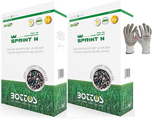 Bottos Sprint N, Concime Fertilizzante azotato per l'esigenza nutritiva del tappeto erboso, 4kg per 160mq (2kg x 2pz) *inclusi GUANTI VF UTILIA IN NITRILE/NYLON*