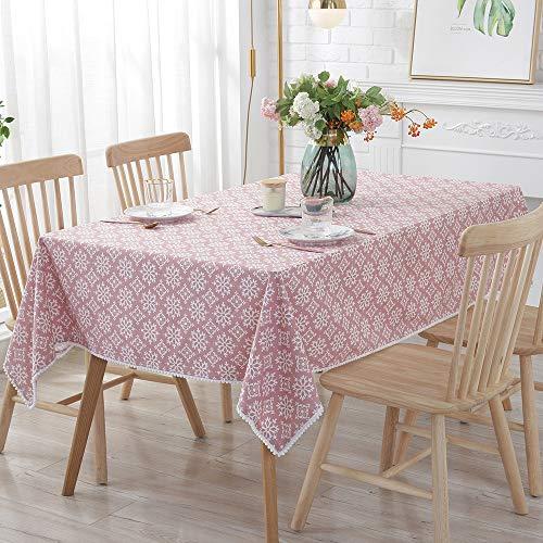 FGA Tischdecke Rechteckig Kariert,Europa Stil Tischdecken Geometrische Welle Dot Muster Gedruckt Baumwolle Tee Tisch Tuch Hause Dekorative Tisch Abdeckung Staubdicht Küchentischabdeckung