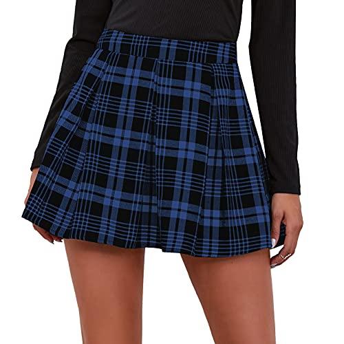 Maeau - Mujer Faldas Escocesa Plisada con Cintura Alta Falda Mujeres Tables Plisada Escuela Uniforme Falda Cuadros Mujer Diario para Exterior Danza Fiesta - Azul