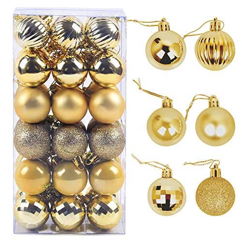 ZoneYan Weihnachtskugeln, 24Pcs 4cm Kugeln Weihnachtsbaum Kunststoff, Weihnachtsbaum Bälle, Weihnachtsbaum schmuck Set (Gold)