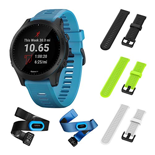 Garmin Forerunner 945 Bundle, Premium GPS Running/Triathlon Smartwatch with Music Included Wearable4U 3 Straps Bundle (Black/Lime/White)
