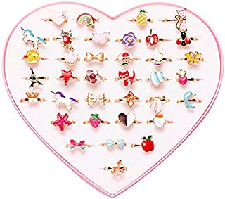 36 pcs Little Girl Adjustable Rings in Box, Children Kids Jewelry Rings Set , Girl Pretend Play Dress Up Rings (A1-2)