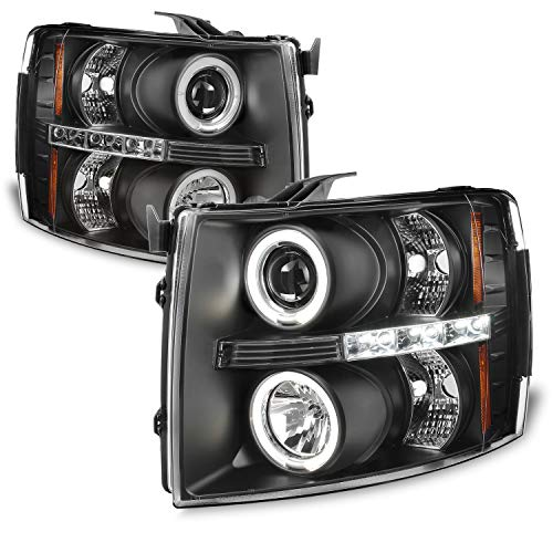 For 2007-2014 Silverado Pickup Truck Black Bezel [Dual Halo Ring] LED Projector Headlights Left + Right Pair
