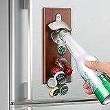 QBDDM Wall Mounted Magnetic Bottle Opener,Gifts for Men Dad Husband,Beer Opener with Magnetic Cap Catcher,Magnetic Refrigerator Paste Bottle Opener,Bar Decoration,Housewarming Gifts