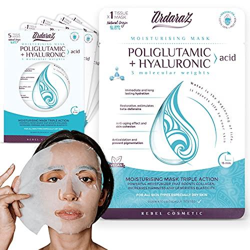 Ardaraz – Maschere per il viso Idratanti e Ringiovanenti in tessuto, imbevute di Siero concentrato di Acido Ialuronico a 3 pesi molecolari, Pack da 5 maschere viso