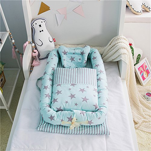 Abreeze Baby Newborn and Infant Lounger–Portable Bassinet, Nest for Cosleeping, Tummy Time and Lounging. Super Soft and Breathable