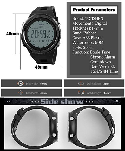 TONSHEN Digital Sport Watch for Men Waterproof 50M 164FT Water Resistant 12H/24H Time Backlight Stopwatch Calendar Date 5 Alarm Army Military LED Outdoor Watch - Black