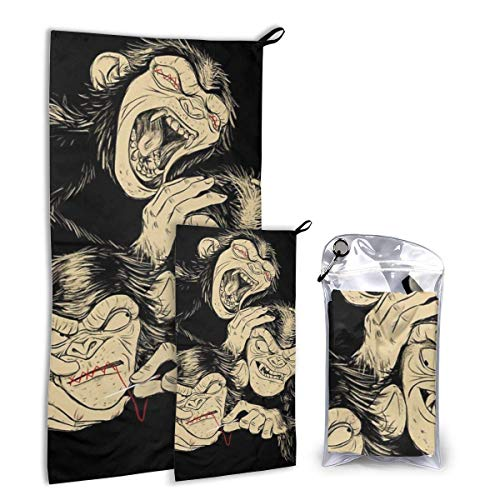Lsjuee Three Wise Monkeys Travel Towel Set - Microfiber Quick Dry Towel Bundle for Camping, Hiking & Backpacking