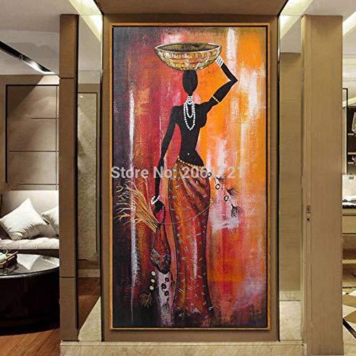 SUNNYWLH Pintura Mural Pintado A Mano Figura Pintura Al Óleo Mujer Africana Arte De La Lona Clásico Grande Vertical África Niña Pared Imagen Decorativa