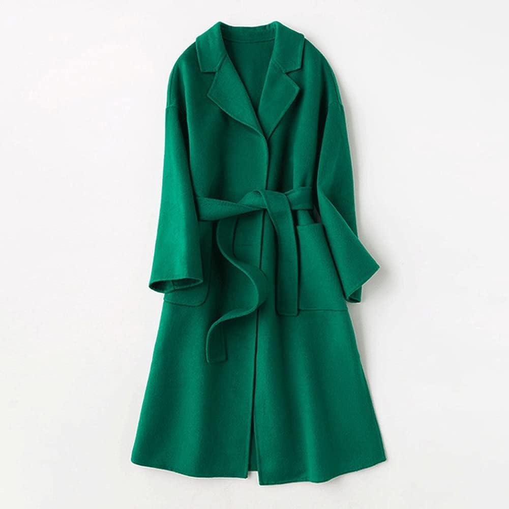 UXZDX CUJUX Turn Down Collar Women Wool Coat with Belt Elegant Women Woolen Long Coat Winter (Color : Green, Size : S Code)