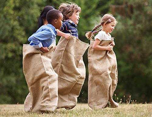 "Premium Burlap Potato Sack Race Bags 24"" x 40"", Sturdy, Rugged, 100% Natural Eco-Friendly Jute, Perfect Birthday Party Game for Kids & Adults. Best for School, Church, Pinic (Pack of 6)"