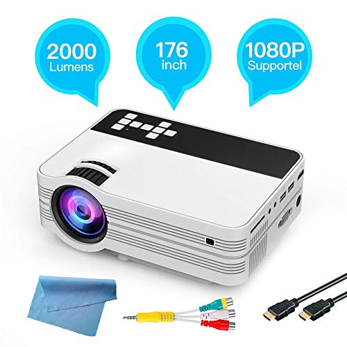 Estink High-definition projector, support wireless WIFI, support Bluetooth 4.0, support H265 4K home commercial projector, RAM 1G running memory, ROM 8G internal storage(UK)