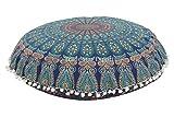 Trade Star Exports Mandala Pillow Case 32', Cojines Grandes para Pisos, puf Indio, Tiro Decorativo, otomano Redondo, Fundas de Cojines Boho, Funda de cojín para Exteriores Pom Pom