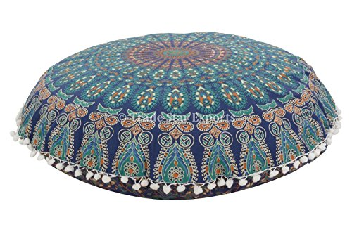 Trade Star Large Round Mandala Floor Cushions, Decorative Elephant Throw Pillowcases 32', Boho Outdoor Cushion Cover, Indian Pouf Ottoman, Pom Pom Roundie Pillow Sham (Pattern 2)