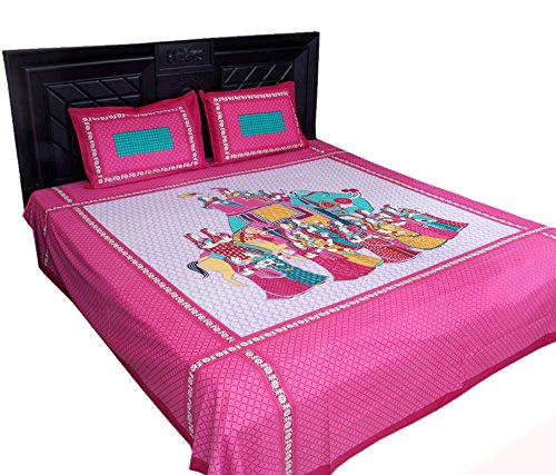 Kouber Industries Rajasthani Traditionnel Lit avec 2 Taies d'oreiller, King Size Lit Double Drap, 100% Coton