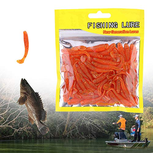 Pangding Wits Baits, 50PCS 5cm Soft Plastic Fishing Lures T-Tail Grub Worm Baits Accesorios para Peces(Naranja)