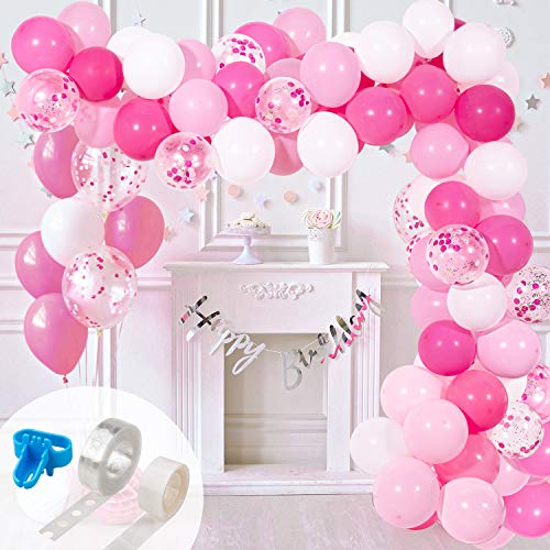 Whaline Balloon Arch & Garland Kit, Pink Hotpink White Latex Balloons & Confetti Balloons with 16ft Balloon Strip Tape,1pcs Tying Tool and 100 Glue Point for Wedding Birthday Baby Shower Party Decor
