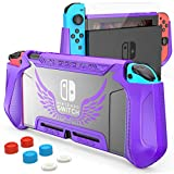 HEYSTOP Case Compatible with Nintendo Switch Case Screen Protector,TPU Protective Heavy Duty Cover Case for Nintendo Switch with Shock Absorption and Anti-Scratch (Purple)